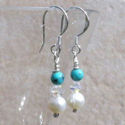 Silver Pearl Swarovski Turquoise Earrings - BCE12