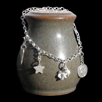 Silver Charm Bracelet for Adults or Children - BCB1