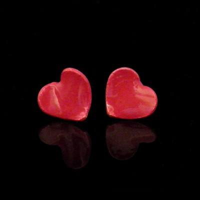 Enamelled Heart Stud Earrings