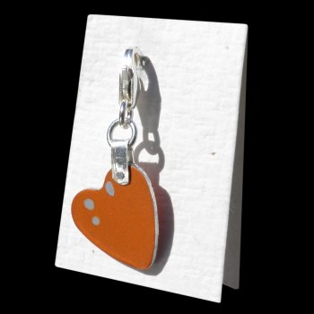 SPECKLED HEN Orange and Blue Dot Heart Keepsake - AC080