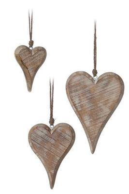 Shabby Chic Medium Chunky Wooden Hanging Heart