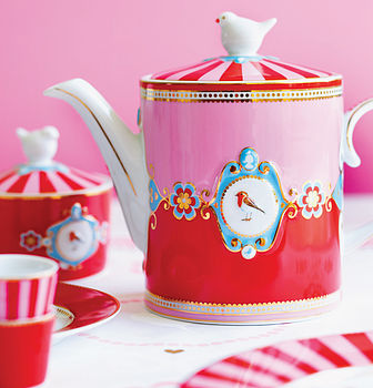 Pip Studio Love Birds Teapot Red & Pink
