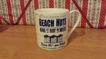 BEACH HUTS MUG BY M.WISCOMBE
