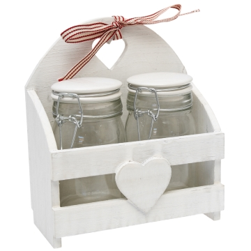Set of 2 white sweetheart medium storage jars in a wooden caddy