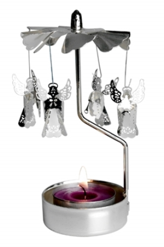 Rotating silver Angels T-light holder with T-light candle