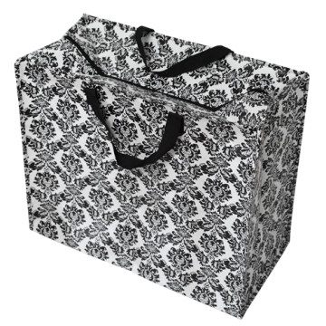 Jumbo storage bag black baroque flock design