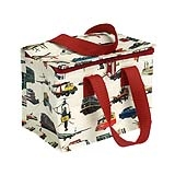 Vintage transport design foil-insulated lunch bag/ cool bag