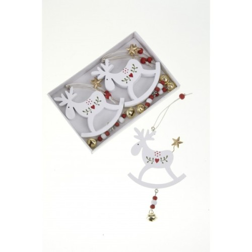 White Wooden Hanging Reindeer
