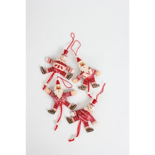 Hanging Wooden Santa