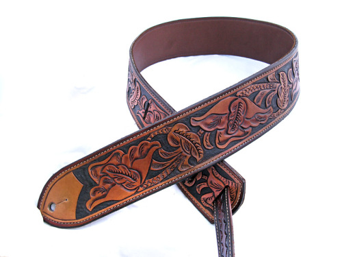 Handmade Leather California Poppy Tooled Guitar Strap