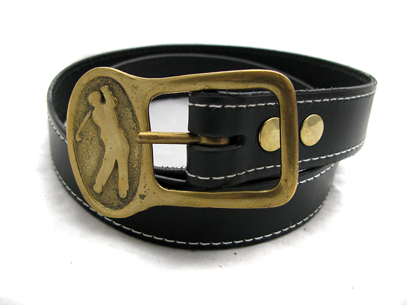Handmade Black Leather Belt with Vintage Brass Golfer Buckle