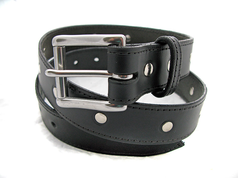 Handmade Black Leather Belt with Rivets