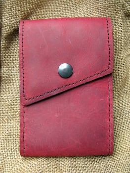 Handmade Red Leather Mobile Phone Case with Belt Loop