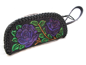 Handmade Leather Purse with Purple Roses