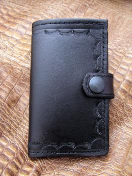 Handmade Black Leather Upright Wallet