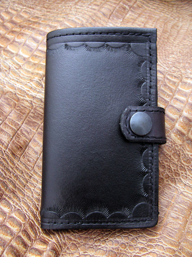 Handmade Black Leather Upright Wallet