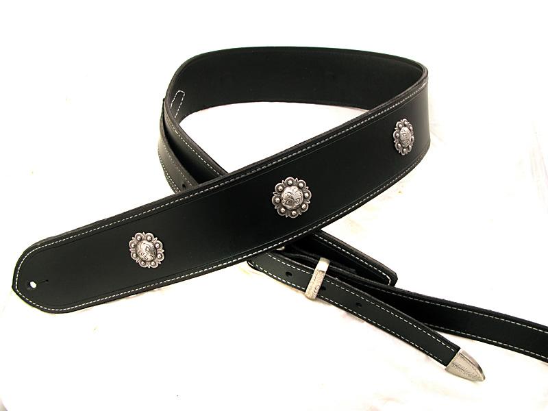Handmade Leather Extra Long Black Guitar Strap