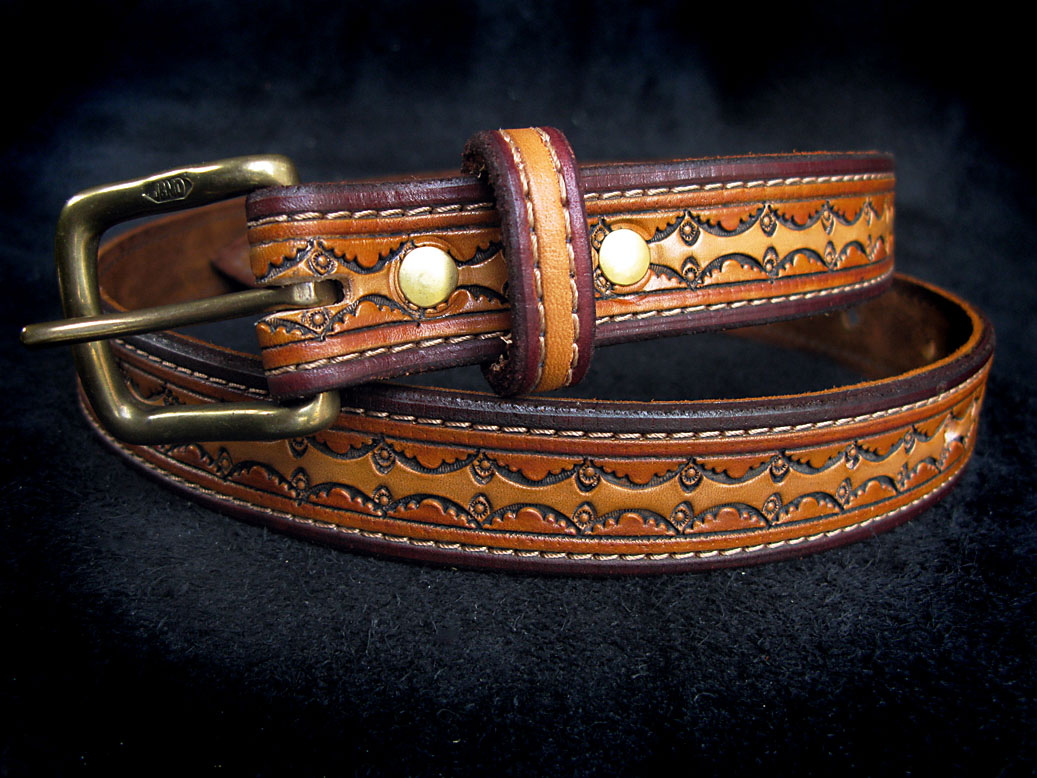 Handmade Leather Stamped Belt