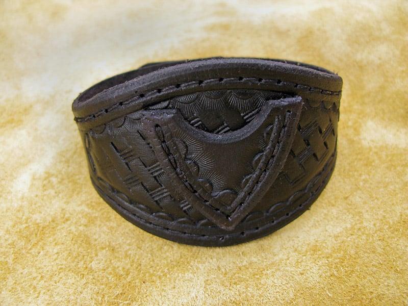 Handmade Black Leather Wristband with Pick Pocket