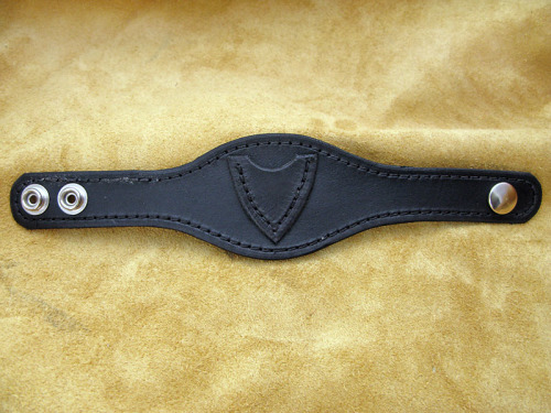 Handmade Black Leather Wristband with Guitar Pick Holder