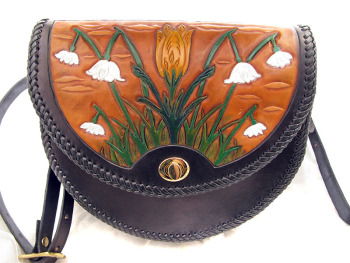 Handmade Leather Spring Flowers Bag