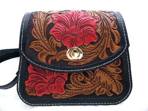 Handmade California Poppy Leather Shoulder Bag