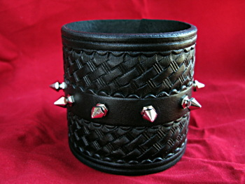 Handmade Black Leather Spiked Wristband