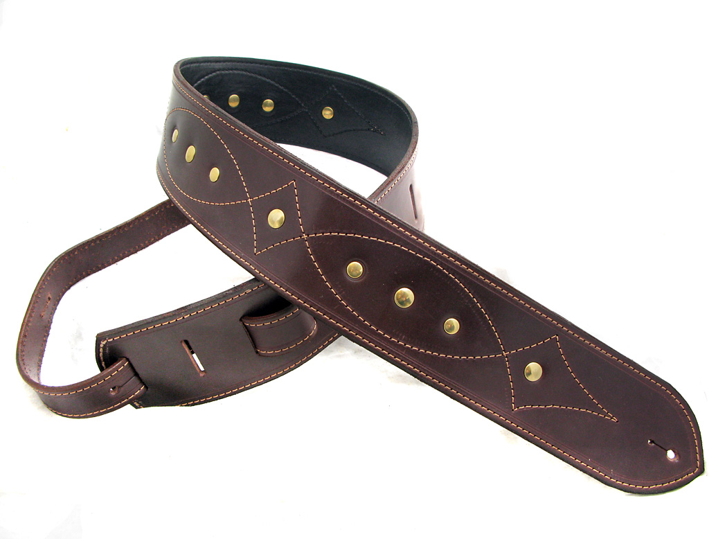 Handmade Brown Leather Guitar Strap with Stitching Detail