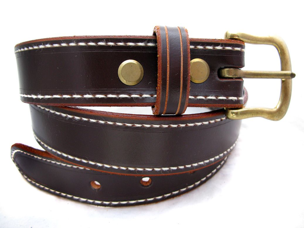 Hand Made Brown stitched Leather belt