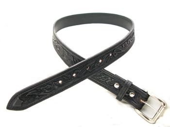 Handmade Black Leather Floral Tooled Belt