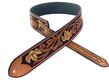 Handmade Leather Gold Floral Guitar Strap