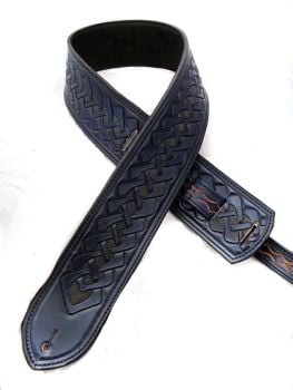 Handmade Blue Leather Celtic Guitar Strap