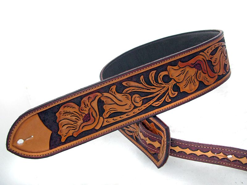 Handmade California Poppy Leather Guitar Strap