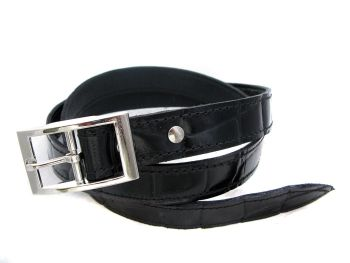 Handmade Black Leather Alligator Print Belt