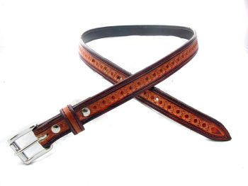 Handmade Brown Leather Tooled Belt