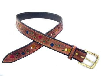 Handmade Tooled Leather Floral Belt with Brass Buckle
