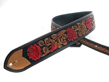 Handmade Leather Tooled Red Rose Guitar Strap in Black and Red