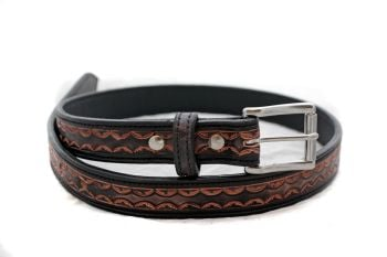Handmade Black Leather Tooled Belt