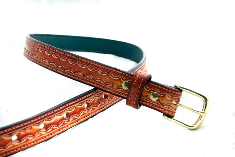 Handmade Leather Brown Embossed Belt