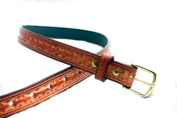 Handmade Leather Brown Embossed Belt
