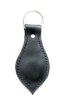 Handmade Black Leather Keyring