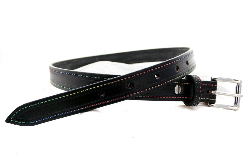 Handmade Black Leather  Belt with Rainbow Stitching