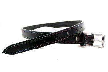 Handmade Black Leather  Belt with Rainbow Stitching