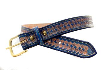Handmade Blue Leather Seashell Belt