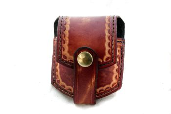 Handmade Leather Mahogany Coloured Pocket Watch Pouch
