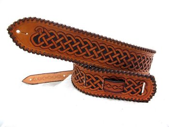 Handmade Leather Celtic Guitar Strap with Lacing Detail