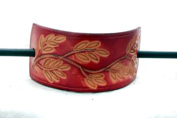 Handmade Leather Hair Barrette with Wooden Stick