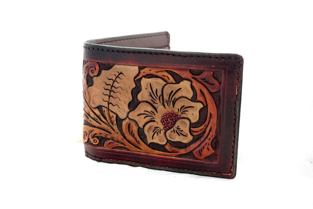 Hand Tooled Leather California Poppy Wallet