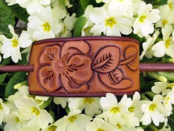 Handmade Leather Floral Tooled Hair Barrette with Wooden Stick