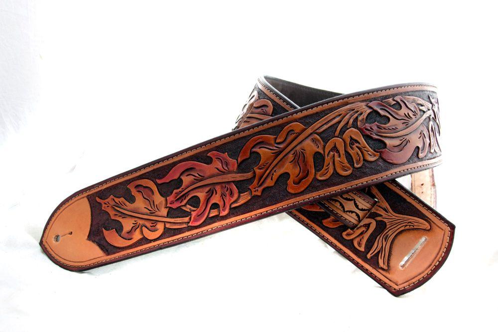 Handmade Leather Autumn Leaf Guitar Strap